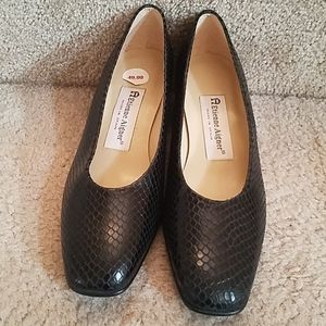 Etienna Aigner Snake skin Type Black Leather Shoes